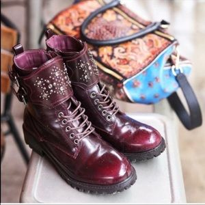 Burgundy Studded Lugged Combat Boots